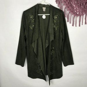 Chico's Embroidered Faux-Suede Drape Jacket Medium